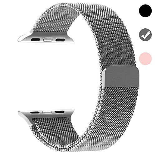Ferdery Stainless Steel Band Mesh Milanese Loop Bracelet Strap Replacement Band with Magnetic Closure Clasp for Apple Watch Series 1 Series 2 Series 3 Edition-Silver 42mm