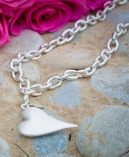 Hjerter brushed Silver Heart Necklace.   Great chunky piece that looks good with bright solid colours