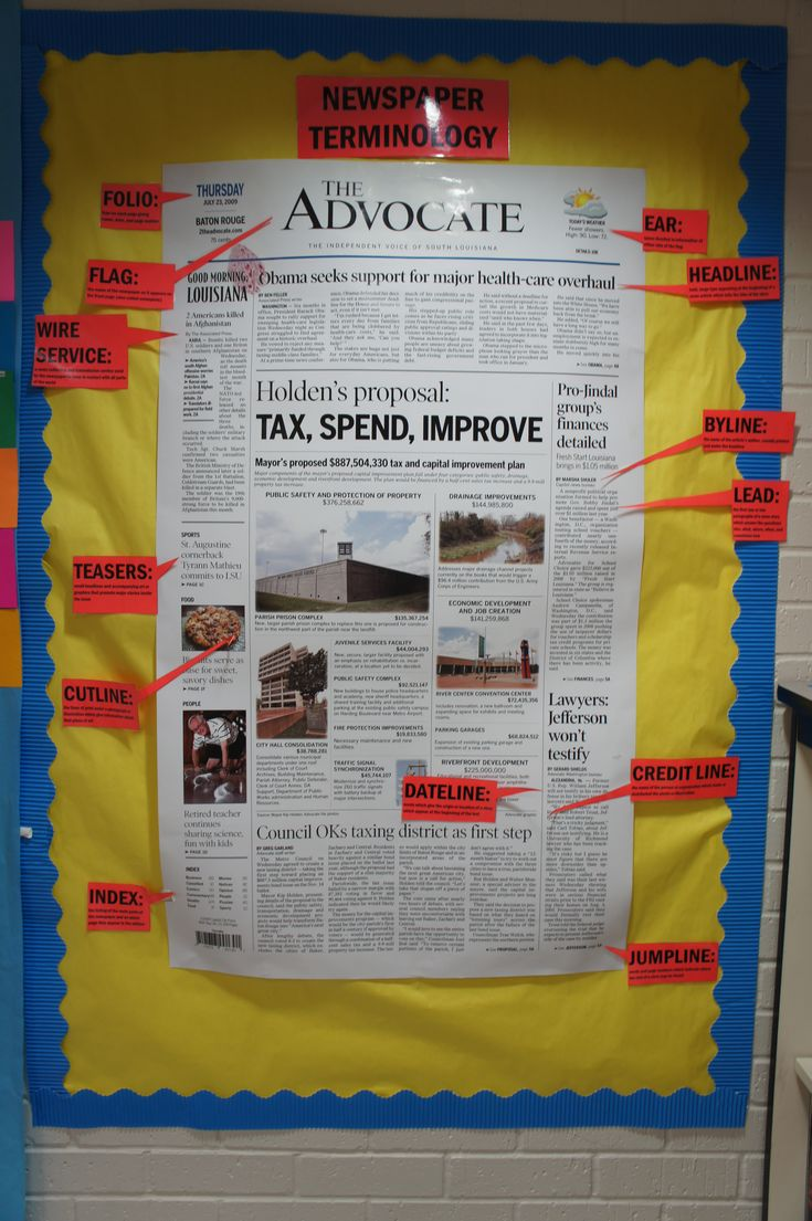Parts of the Newspaper…I couldn't get to the blog…but what a great bulletin board!