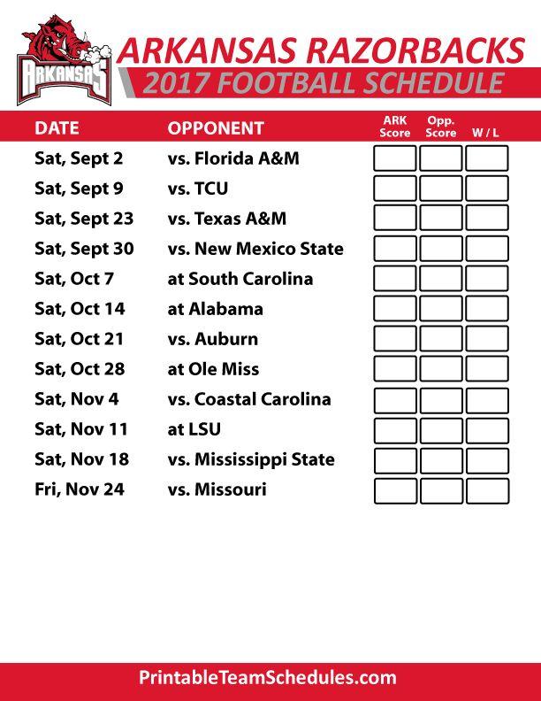 2017 Arkansas Razorbacks   Football Printable Schedule