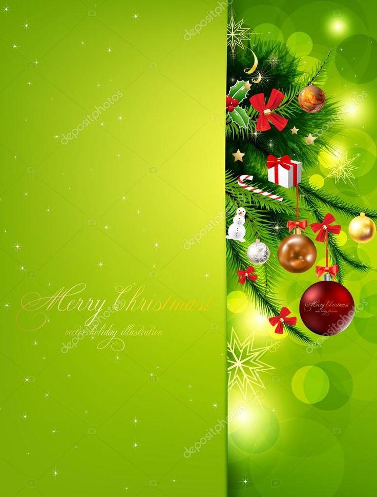 Рождественский фон с безделушками и рождественской елкой — стоковая иллюстрация #15871341