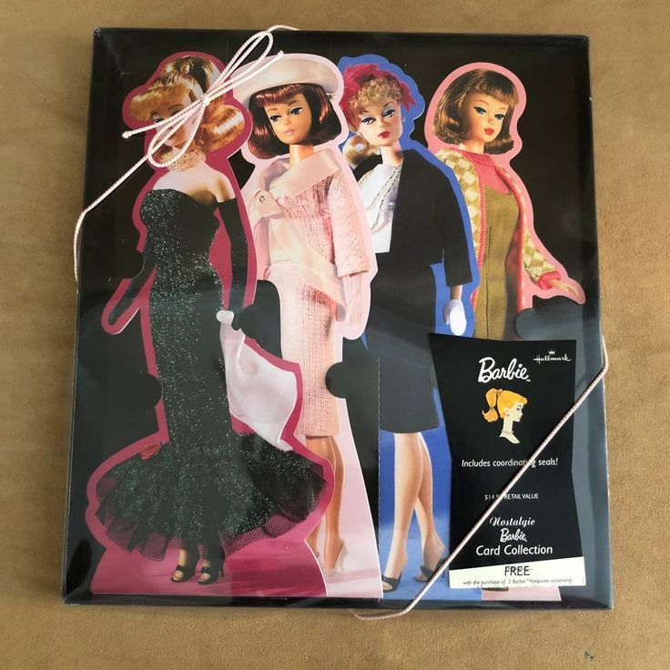 Hallmark Nostalgic Barbie Cards Collection Pink Envelopes Seals new in box  #Hallmark