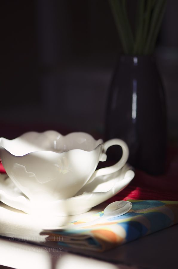 shanonquinnphotography.com Retro Love. Tea cup morning sunlight.
