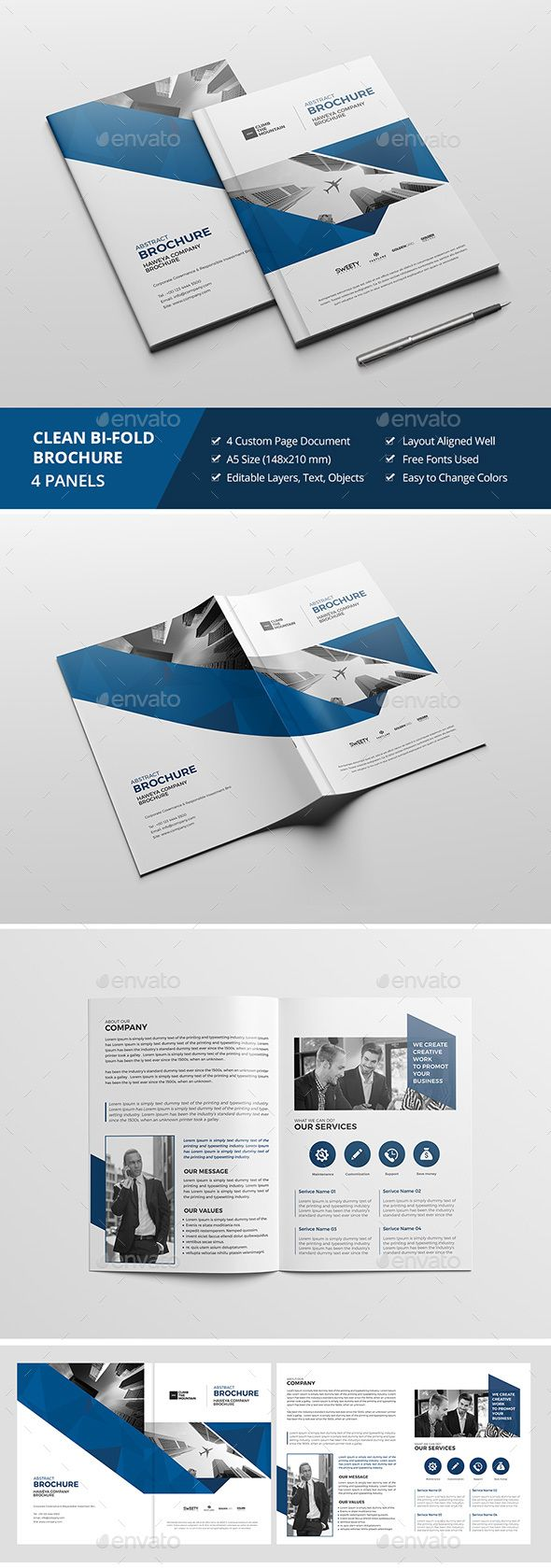 Haweya Bi-Fold Brochure 10This Photoshop Brochure Template is Clean & Professional. Create your companys documentation quick and e