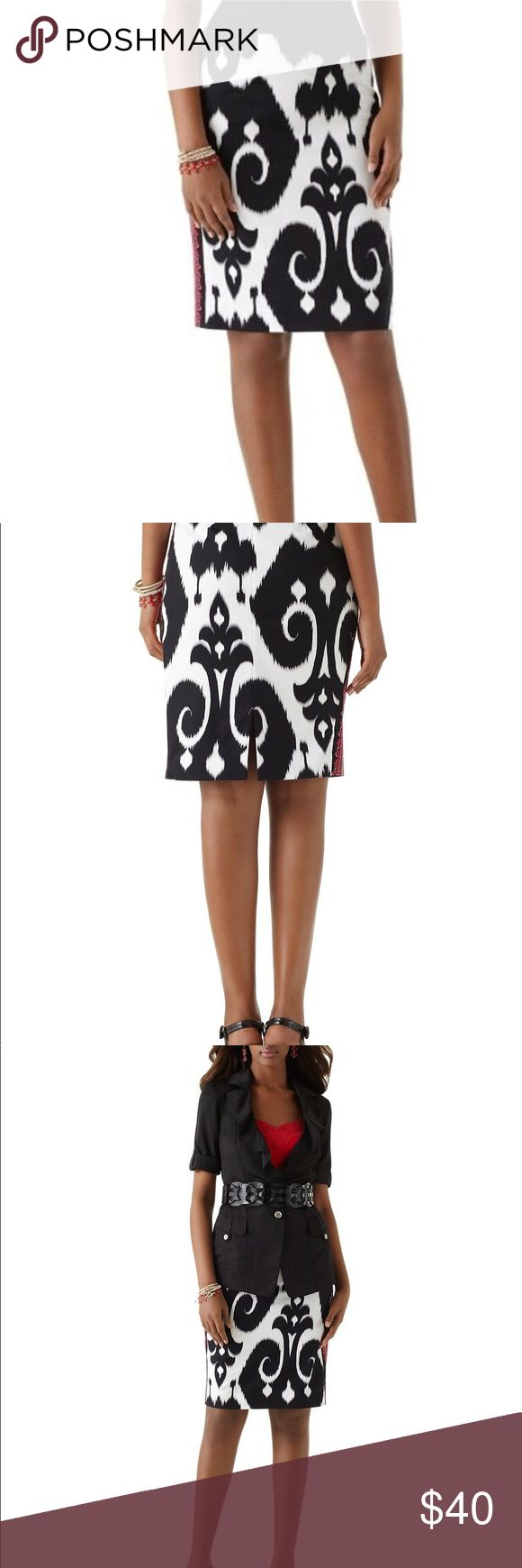 "White House Black Market Ikat Pencil Skirt Size 12 Flame red and Blossom pink embroidered trim on the sides accentuates the slimness of a pencil skirt, bringing the boldness of this black and white ikat print into line. 97% Cotton, 3% Spandex. Machine wash.  Sits below the waist. Bandless waist. Concealed back zip and hip darts. 5.25"" bar-tacked vent. Soft, lightweight thread-tacked lining. Length: 20inches. Waist is approximately 18 inches. Size 12. Worn twice. White House Black Market…"