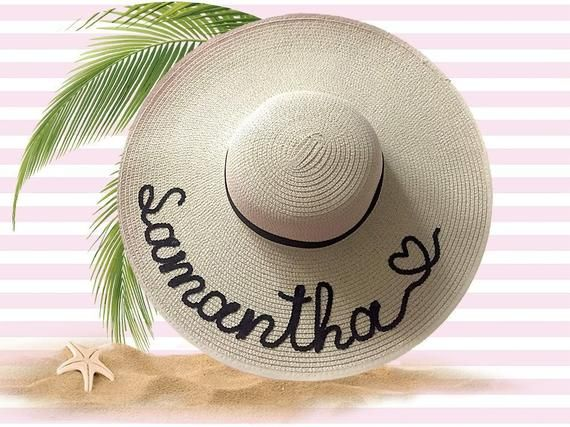 Personalized Sun Hat Custom Name Beach Hat Birthday Gifts For Her Sun Hats Hats How To Embroider Letters