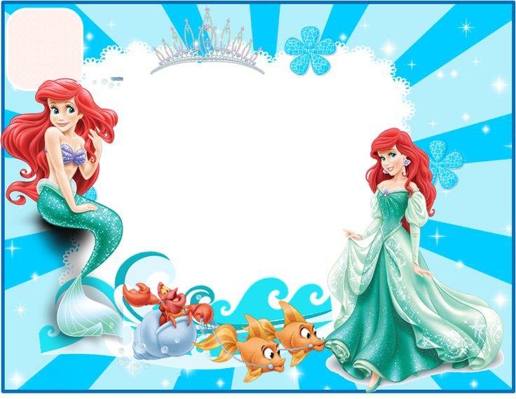 La Sirenita: Invitaciones para Imprimir Gratis.