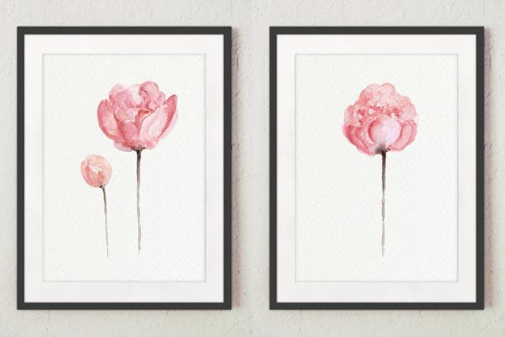 Set of 2 Watercolor Peonies Gift Ideas. Shabby Chic Home Decor. Pink Wall Painting Two Illustrations. Abstract Flower Peony Art Print Wall Poster. The price is for a set of two different Peony art prints as shown on the first photo. Type of paper: Prints up to (42x29,7cm) 11x16 inch size are printed on Archival Acid Free 270g/m2 White Watercolor Fine Art Paper and retains the look of original painting. Larger prints are printed on 200g/m2 White Semi-Glossy Poster Paper. Colors: Ar...