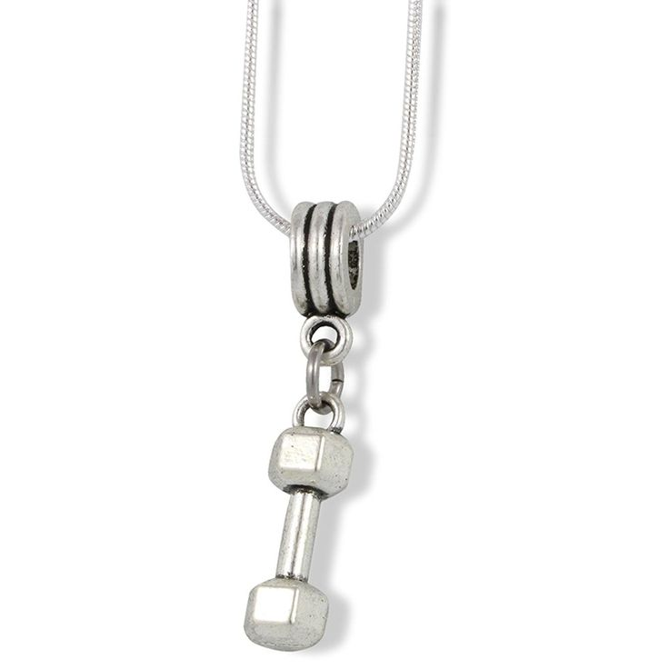 Hexagonal Barbell Dumbell Charm Snake Chain Necklace