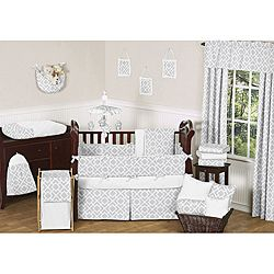 @Overstock - Complete the look of your nursery with this Diamond 9-piece crib bedding set from JoJo Designs. The set includes the bedding and decorative elements such as a stylish throw pillow, valances, a toy bag and much more.http://www.overstock.com/Baby/JoJo-Designs-Diamond-9-piece-Crib-Bedding-Set-in-Grey/6698261/product.html?CID=214117 $189.99