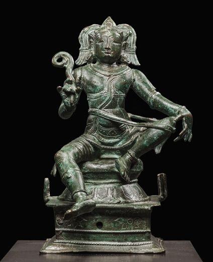 Saint Ayanar. India, Tamil Nadu, Chola Dynasty, circa 13th century. Bronze. Height: 10 1/4 inches (26 cm)
