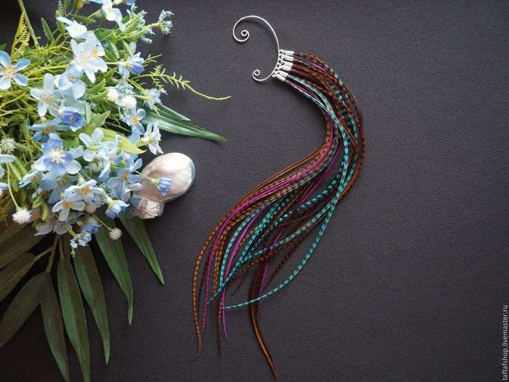 Тайна востока - яркий кафф с длинными перьями в стиле бохо - комбинированный, перья, перо