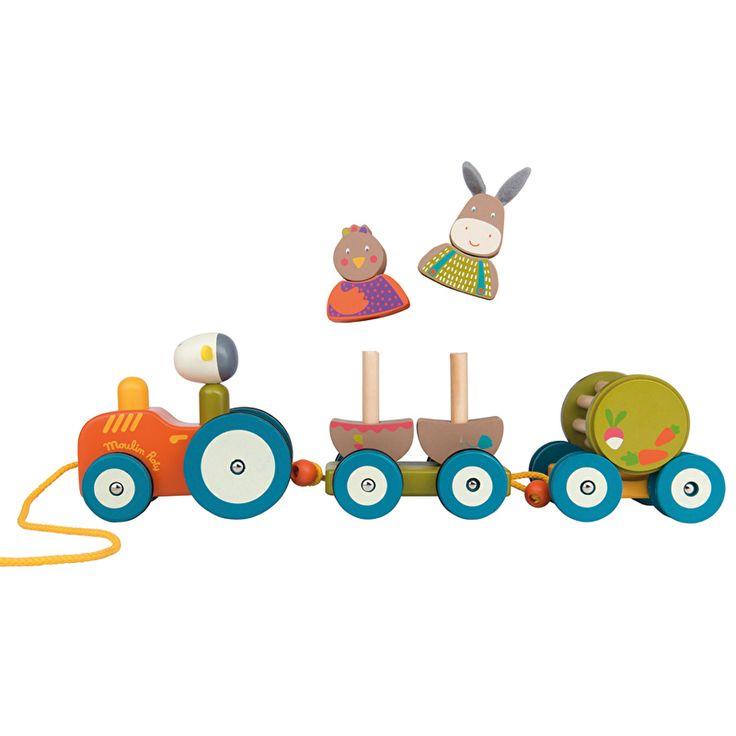 Met deze prachtige houten activiteitentractor van Moulin Roty kunnen kinderen in verschillende fasen spelen. De kip en ezel kun je van de aanhanger afhalen en het achterste deel is een rammelaar. Wanneer je kindje kan lopen kan deze de tractor achter zich aan trekken. €35,90