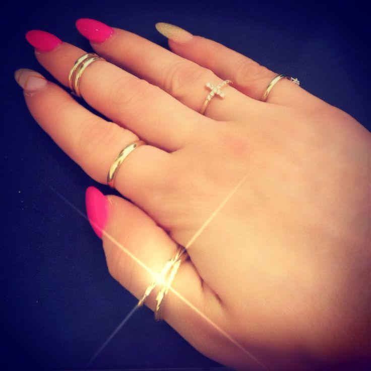 Gold Cross Pinkie Ring