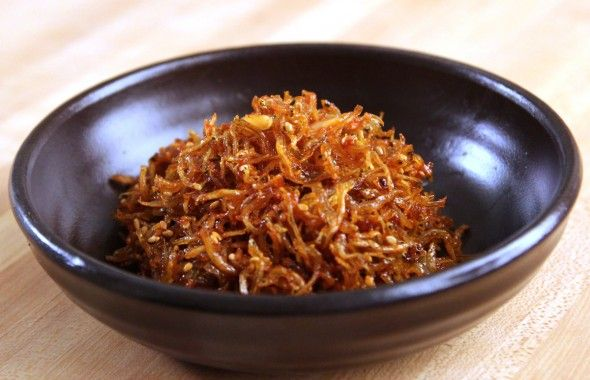 Spicy myulchi bokkum banchan (stir-fried dried anchovy side dish): I made the mild version with a splash of sriracha, and it was great! Especially good over rice, but still a nice snack with kick by themselves! (Note: you can find cheap dried anchovies in bulk at your local korean super market!)