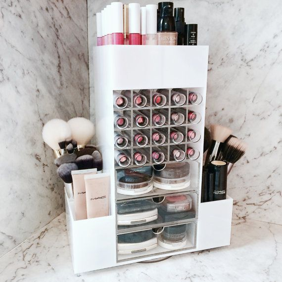 Rotating Acrylic Cosmetic Storage Organiser Stand Holding MakeUp Lipsticks  and Brushes