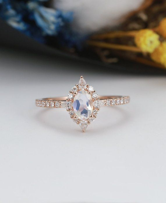ee52fedabf259 Moonstone Engagement Ring rose gold Oval ring Vintage Marquise ...