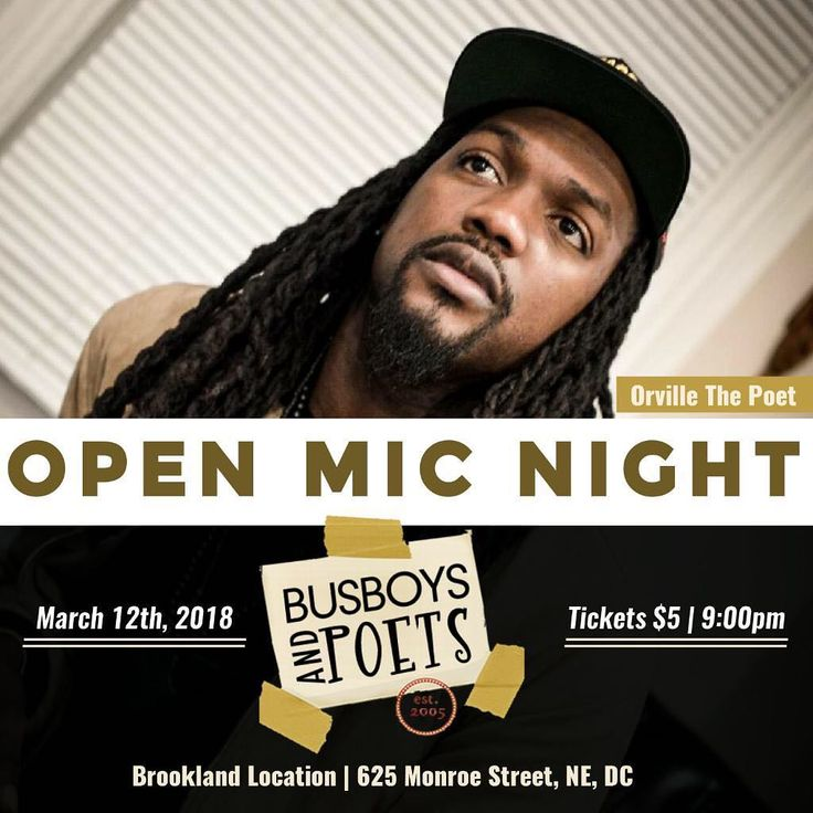 MONDAY March 12th yours truly @orvillethepoet Hosts at @busboysandpoets BROOKLAND LOCATION  Be sure to be EARLY to sign the Open Mic List ( First Come First Sign) Tickets are $5 at the door OPEN MIC STARTS AT 9PM Open Mic List Open at 8:30pm so if you want to share BE EARLY Tag A Friend Tell a FRIEND & BRING A FRIEND TICKETS ARE $5 AT THE DOOR.  #StillDoingItMama #Lorna #PoetryFoundMeThenIFoundMe #FightingCancerWithPoetry #PoetLife #addidas #Puma #PassionOverEverything #ILoveWhatIDo #Hosting…