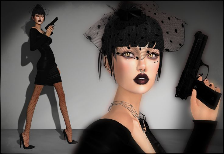 """This round of Collabor88 has so much sexy stuff, I love the """"Espionage"""" theme! Showing off here a dress by -pixicat-, the absolutely gorgeous fishnet headpiece from LaGyo and Genesis Lab's new Meli..."""