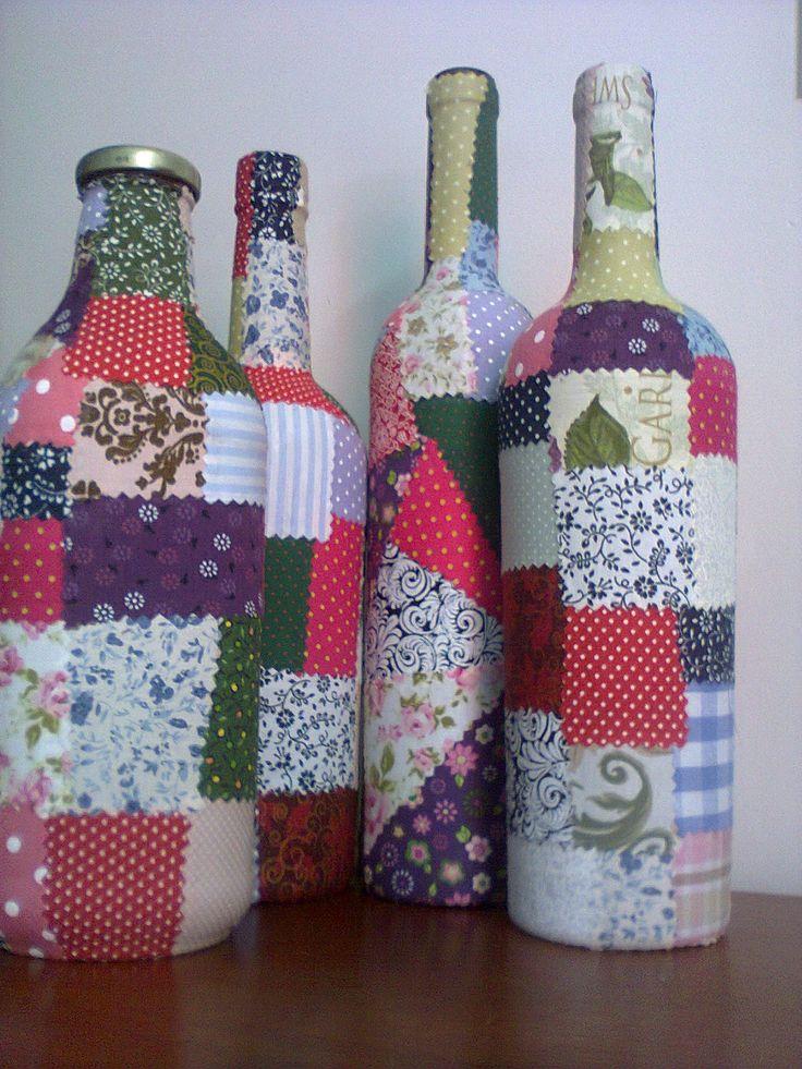 Aparador Verde Esmeralda ~ caixinhasdasilvia Artesanato e Faça voc u00ea mesmo Pinterest Garrafas de vidro decoradas