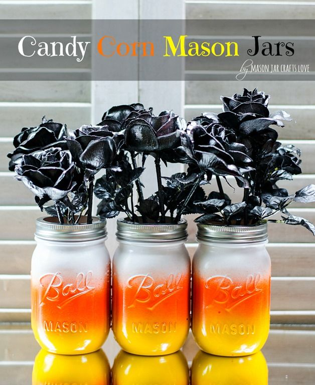 Make these adorable candy corn mason jars with spray paint at Mason Jar Crafts Love
