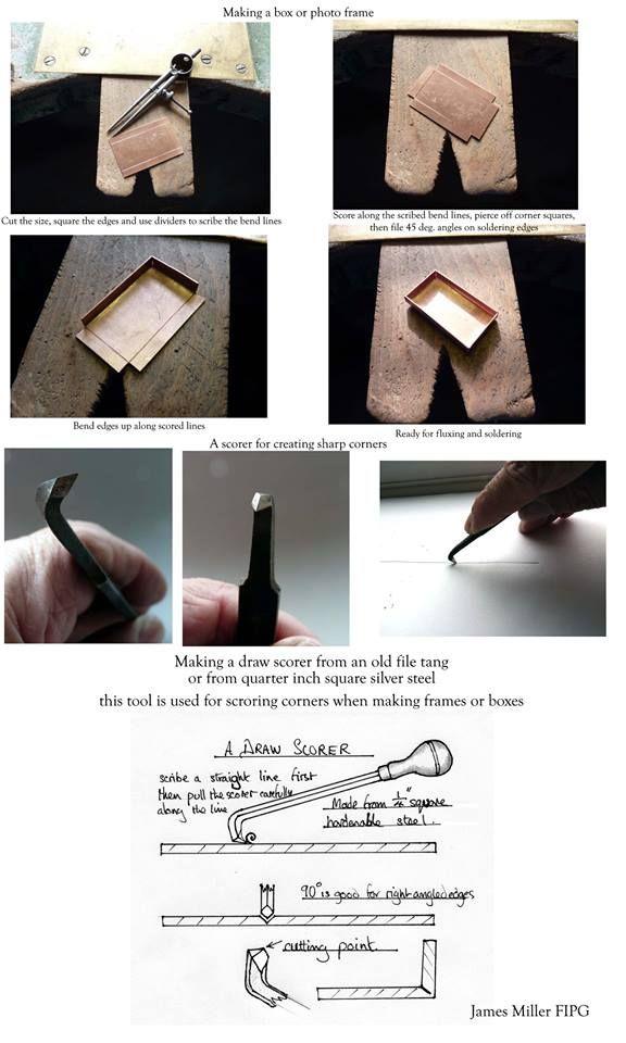 How to use a scoring tool to make a box by Jim Miller - Usare un punzone per incidere per realizzare una scatola in metallo