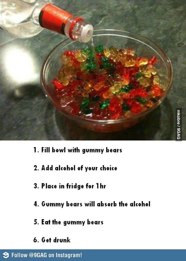 Gummy Bears + Good quality alcohol + 1hr in fridge = not studying