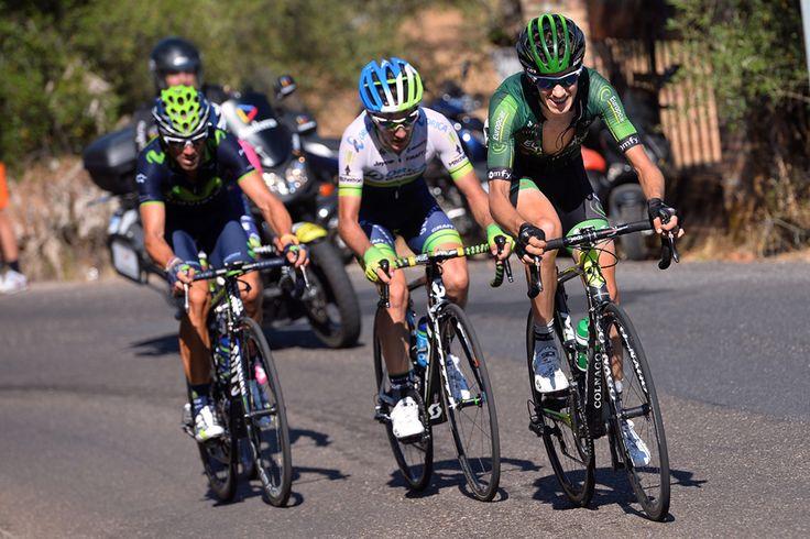 Gallery: 2014 Vuelta a Espana: Stage 4 - Romain Sicard (Europcar), Adam Yates (Orica-GreenEdge), and Alejandro Valverde (Movistar) took a flyer on the final categorized climb, but in the end it was unsuccessful. Photo: Tim De Waele | TDWsport.com