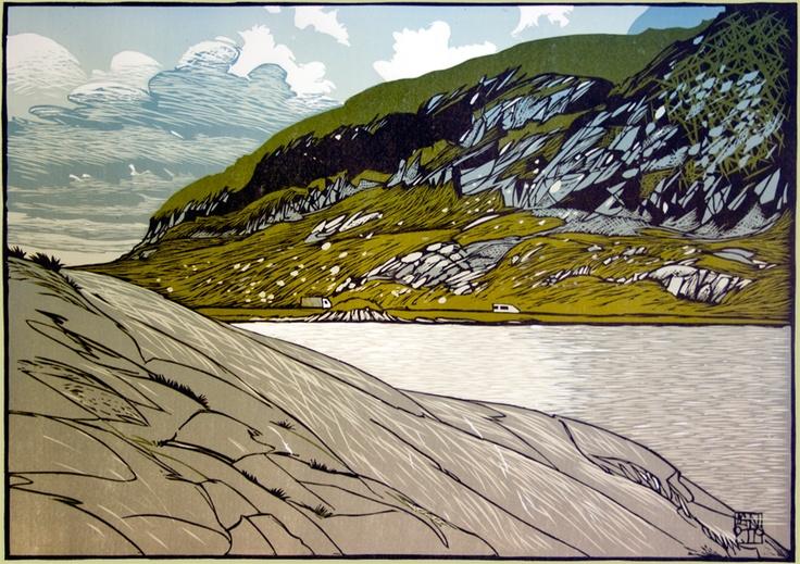 """""""Light on Llyn Ogwen"""", 2011, linocut by Ian Phillips. http://www.reliefprint.co.uk/ Tags: Linocut, Cut, Print, Linoleum, Lino, Carving, Block, Woodcut, Helen Elstone, Wales, Welsh, Cymru, Rocks, Water, Landscape, Sky, Clouds."""