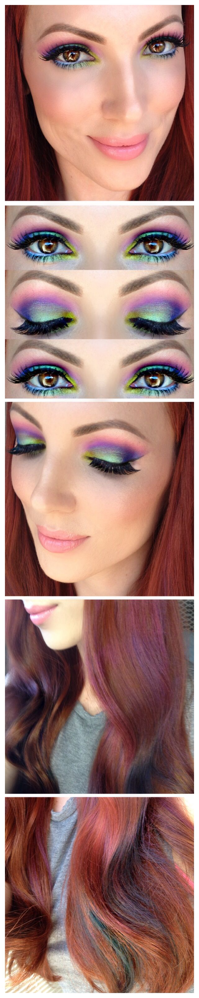 Rainbow eyes, subtle rainbow hair, using Urban Decay Electric Palette and Loreal Professional Hair Chalk #beunexpected