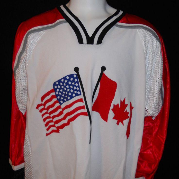 USA Canada Hockey Jersey Large NAFA #02 Athletic Knit #AthleticKnit