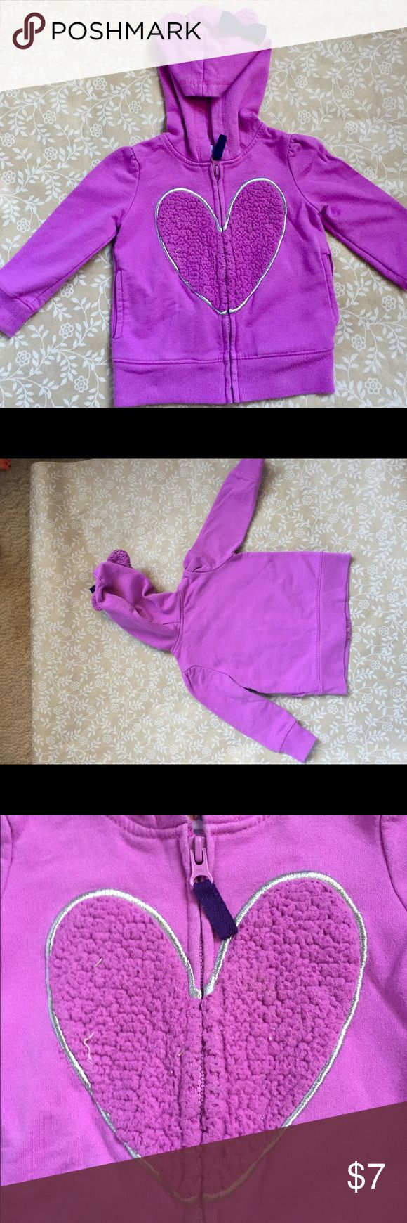 REDUCED! warm and soft Circo zip-up sweatshirt! Adorable purple zip-up sweatshirt with fuzzy heart on the front. Cute little teddy-bear ears with accent bow on hood. Circo Jackets & Coats