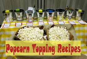 Late night snack idea: Popcorn bar. Here's some recipes for dry flavor toppings for yours: