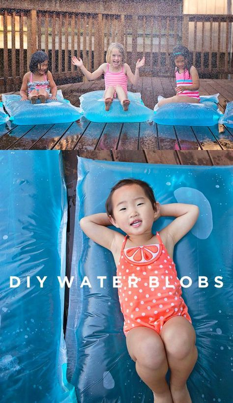 These awesome DIY Water Blobs are perfect for a hot August day spent outside splishing, splashing, and skipping through sprinklers with your kids!