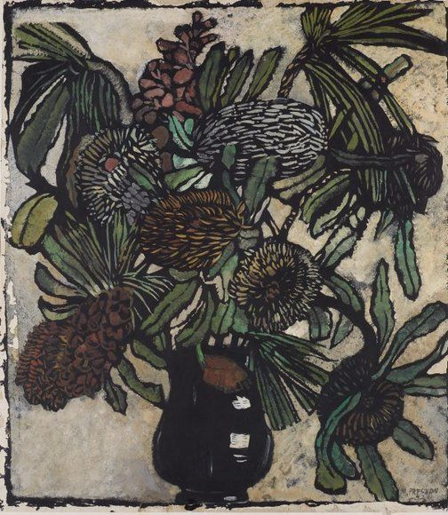 An image of Banksia in jug by Margaret Preston