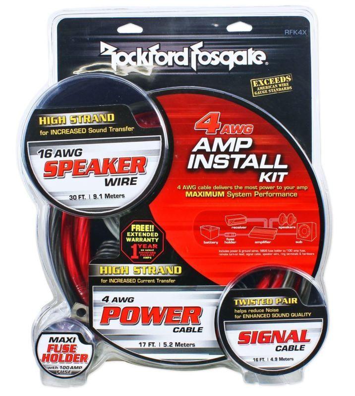 Rockford Fosgate RFK1D 1/0 Gauge Dual Amplifier/Amp OFC Wiring/Wire ...