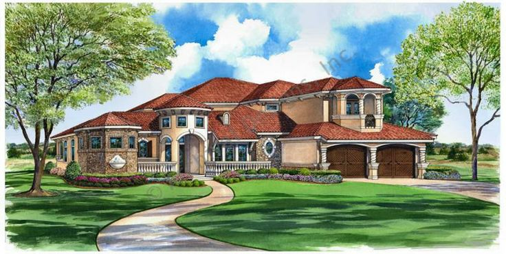 Plan Name: Cordella DESCRIPTION When entering this elegant Mediterranean luxury house, the front verandas and porch greet you as your eyes will be drawn to the large foyer leading to the master suite to the left, a lovely patio straight ahead, and the family living room with private veranda to the right. Beyond this private living room through massive arches is the family gathering area. For more details >> http://www.archivaldesigns.com/home-plans/cordella