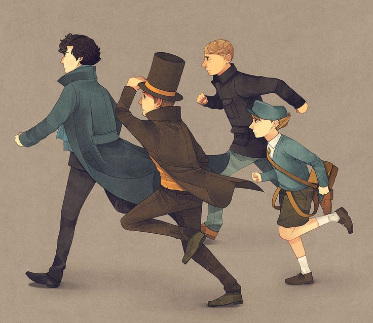 My favorite detectives with my favorite sidekicks. Can you just see Luke getting all starry-eyed at Watson, idolizing him for being what he hopes to become? I love that image. And Sherlock getting all huffy because Layton's always nice.