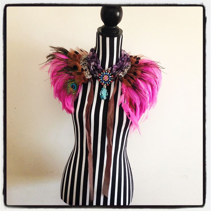 Black and White Stripe mannequin, Sonia M Designs Feather Cape, Magenta feathers, Amethyst Necklace, Statement Accessories, Statement Jewlry, Statement Jewellery