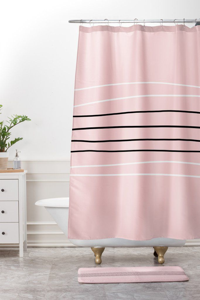Allyson Johnson Minimal Pink lines Shower Curtain And Mat | DENY Designs Home Accessories