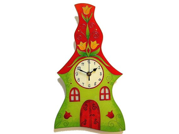Large Cottage Silent Wall Clock, Unique, Hand painted Fabulous Wall Decor, Happy Children's Wall Clock
