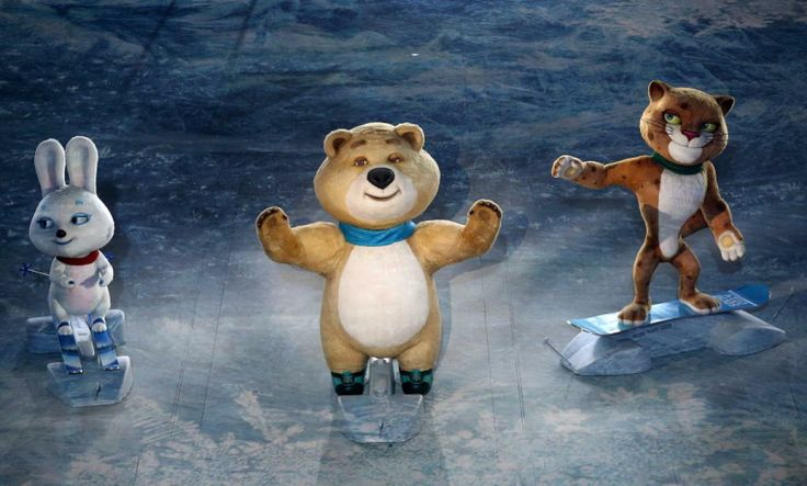 The mascots of the 2014 Sochi Winter Olympic Games perform during the opening ceremony on Feb. 7, 2014.