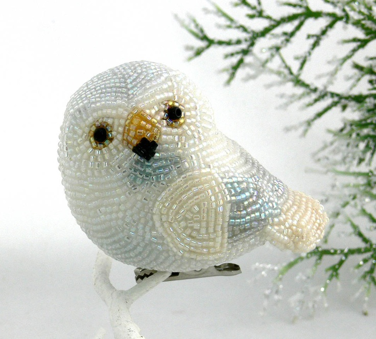 Snowy Owl Ornament Beaded Christmas Clip On Decoration. $48.00, via Etsy.
