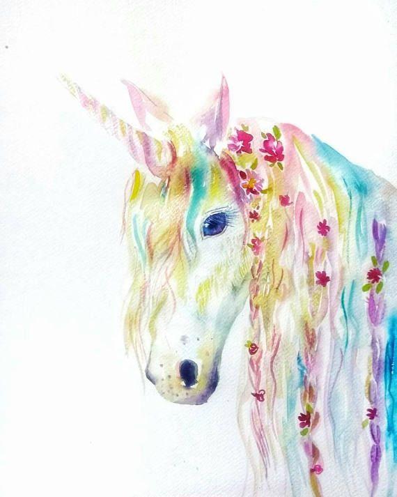 Rainbow Unicorn Original Watercolor Painting Nursery Decor