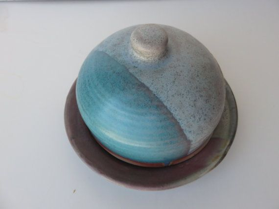 THERE IS SOMETHING ABOUT POTTERY THAT MAKES YOU THINK WARM FIRES AND WOOL SOCKS. THIS BEAUTY IS MADE IN OUR HOME TOWN. Pottery Butter  Dish in Easter Colours of by NancyBloklandPottery