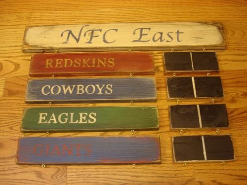 NFC East Standings Board Redskins Cowboys Eagles New York Giants sign | MyRusticBoardSigns - Woodworking on ArtFire