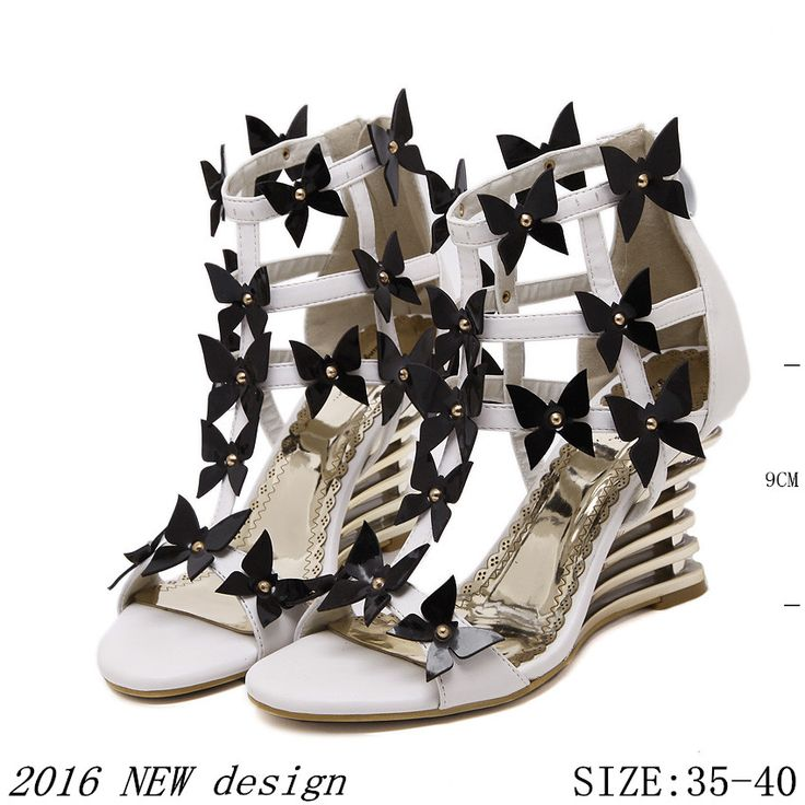 Gladiator Women high heel wedge sandals 2016 Fashion pumps Lady dress wedges sexy shoes High heels Hot sell size 35-40