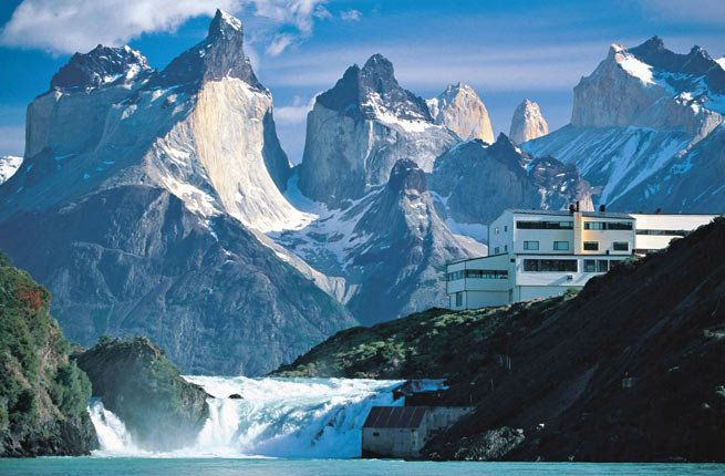 Located at the banks of the Salto Chico waterfall, Salto Chico Lodge offers unparalleled views of the Torres del Paine National Park and the Paine Massif mountain range. >>> This is insanely beautiful. I would love to stay here surrounded by all of these mountains!