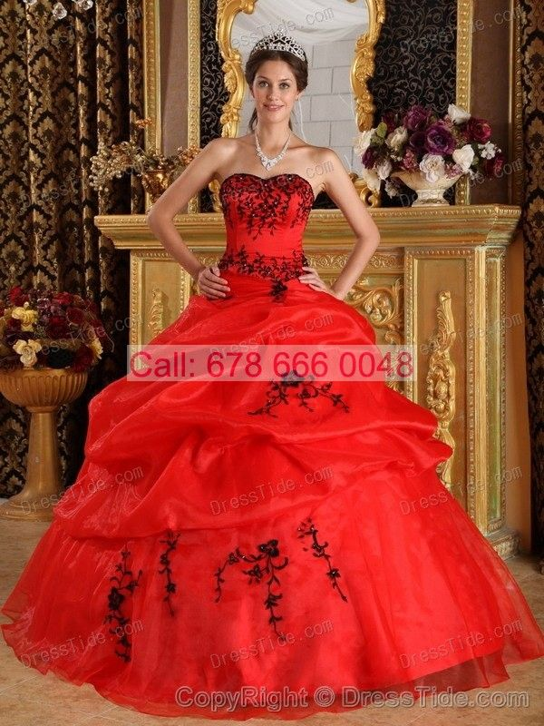 Red Sixteen Quinceanera Dresses Satin and Organza for Summer - Quinceanera Dresses 2015 - Quinceanera Dresses