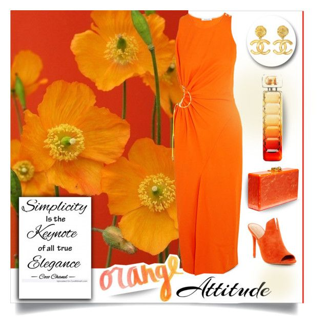 """Orange attitude"" by outfitsloveyou ❤ liked on Polyvore featuring Thierry Mugler, Edie Parker, Chanel, Halston Heritage, Pantone and BOSS Orange"
